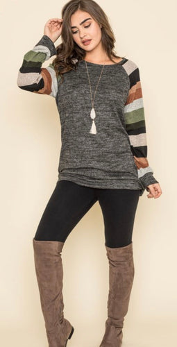 Stripe Sleeve Knit Raglan Tunic in Olive & Black