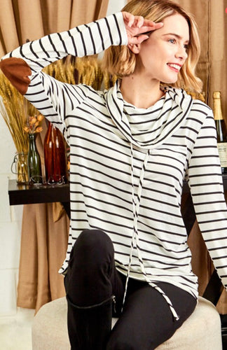 Ivory Striped Cowl Neck Pullover