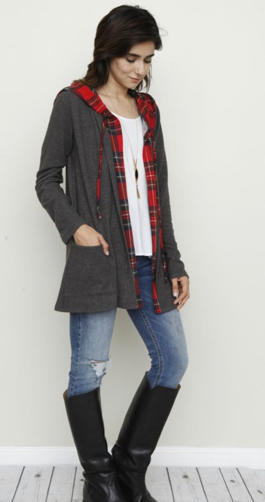 Hooded Plaid Trimmed Cardigan