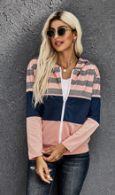 Load image into Gallery viewer, Striped Color Block Drawstring Zip Front Hoodie