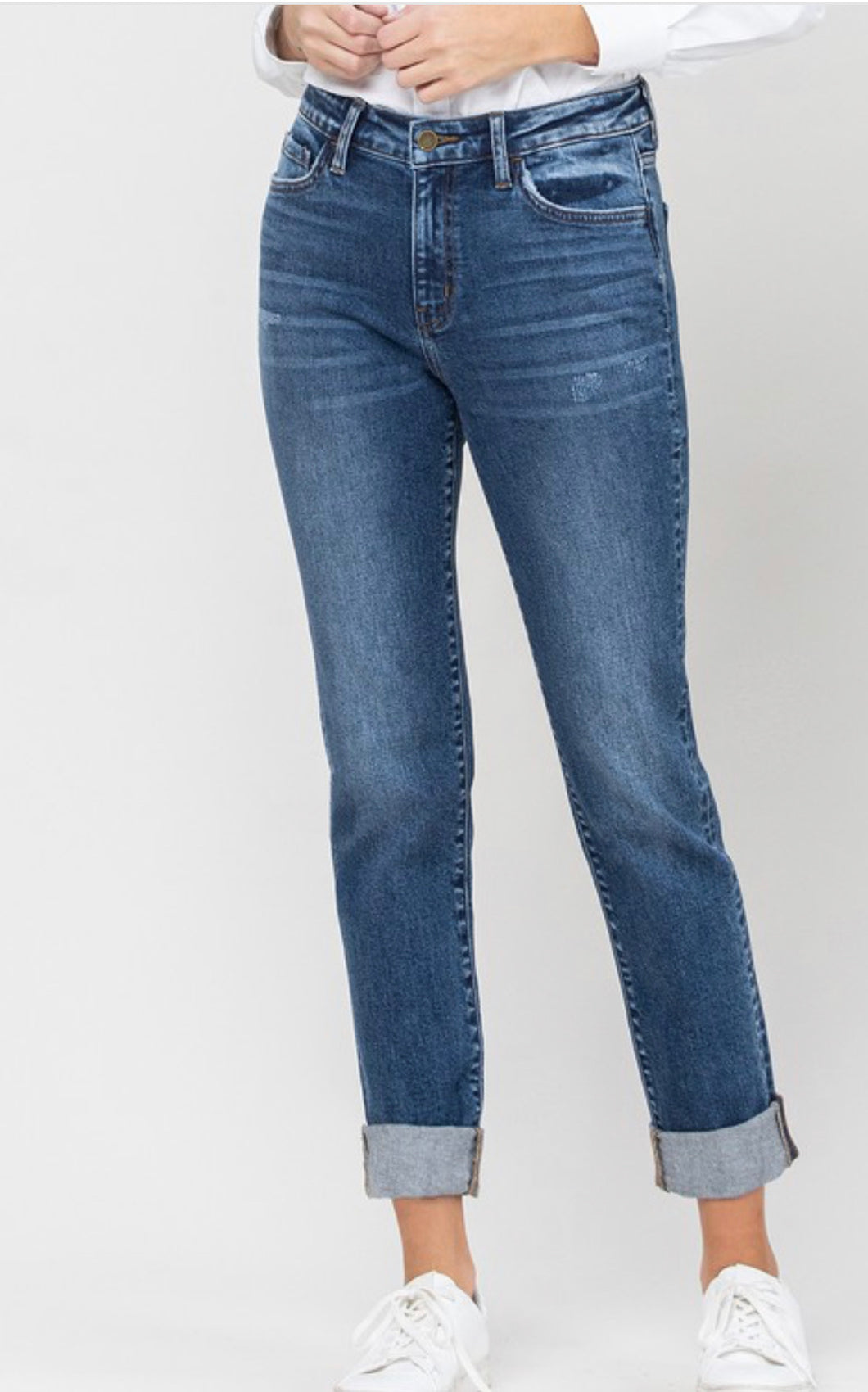 Flying Monkey Roll Up Stretch Boyfriend Jean