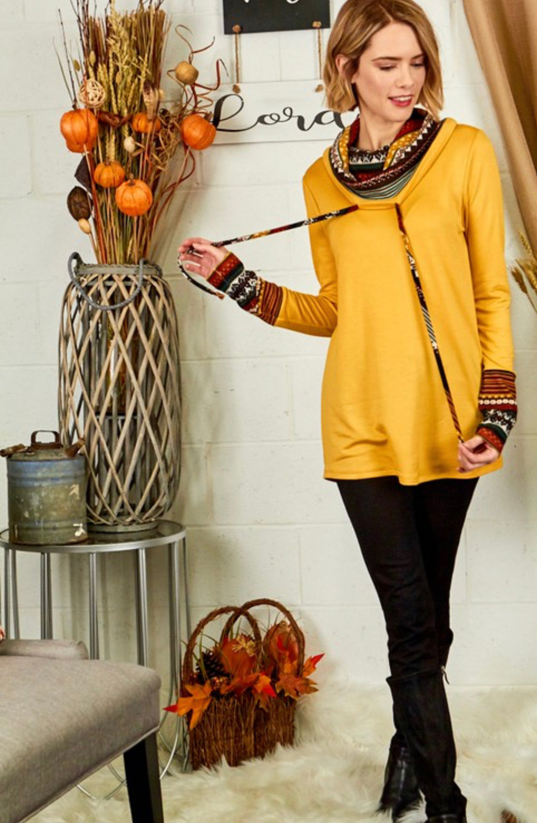 Aztek Mustard Cowl Neck Top
