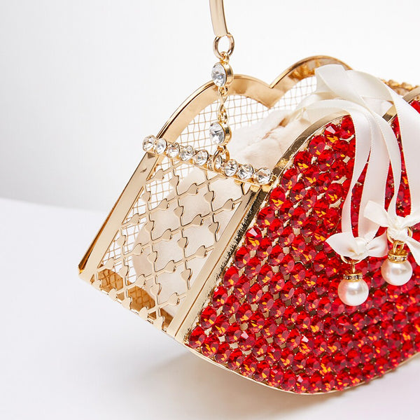 Vermillion Diamond Rouge Pout Evening Bag