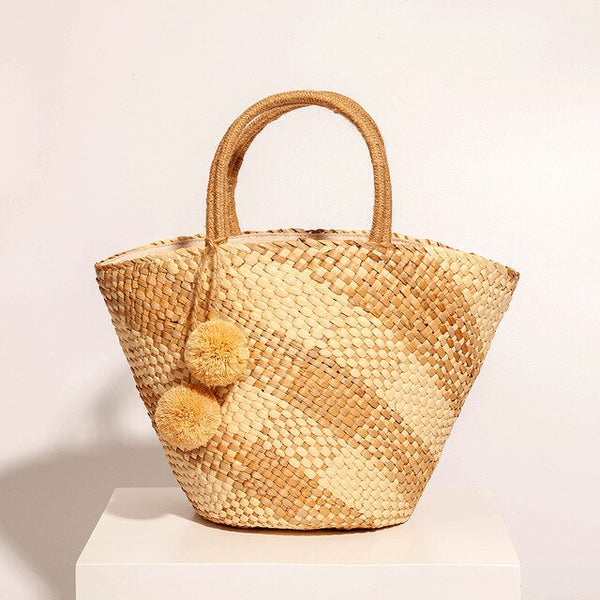 Saint Tropez Palm Woven Checkered Beach Bag