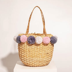 Saint Tropez Ice Cream Palm Woven Basket Beach Bag