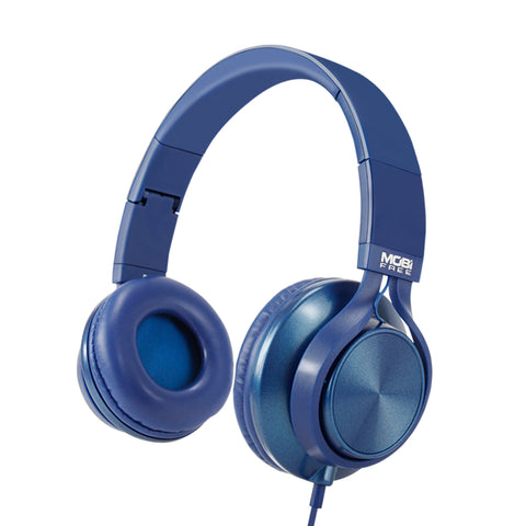 AUDIFONOS ON-EAR CON MICROFONO COLECCION METALICOS AZUL