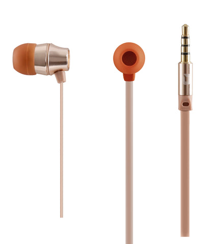 AUDIFONOS IN-EAR CON MICROFONO COLECCION METALICOS DORADO