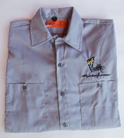 Devil Embroidered Work Shirt - Gray