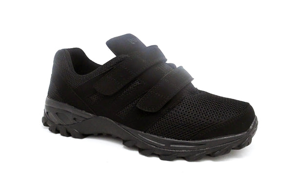 Mt. Emey 9704-V Black - Men Athletic Mesh Hook and Loop Walking Shoes