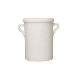 White Terracotta Crock with Handles