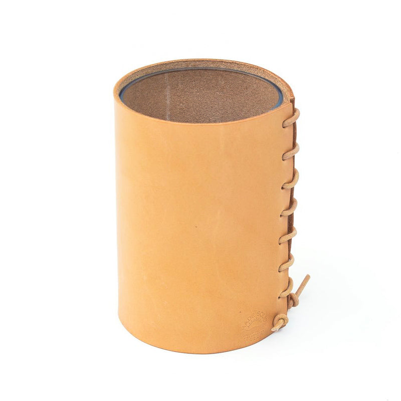 Leather Wrapped Vase - Natural