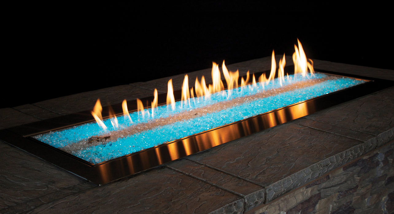 Empire Carol Rose 60-inch Natural Gas Outdoor Linear Fire Pit Kit W/Manual Electronic Ignition & Led Light System - OL60TP18N