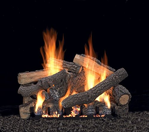 "White Mountain Hearth 30"" Ponderosa Logset with VF/V Slope Glaze Burner with Remote for On/Off and Flame Height, NG"