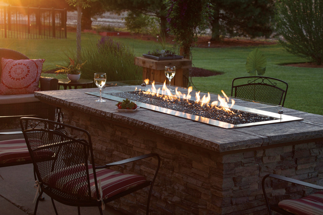 Empire Carol Rose 48-inch Propane Gas Outdoor Linear Fire Pit Kit W/Manual Electronic Ignition & Led Light System - OL48TP18P