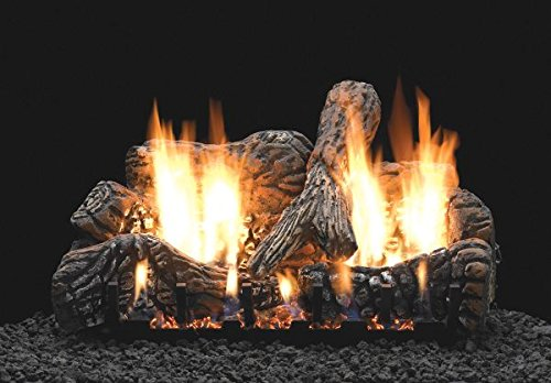 "White Mountain Hearth 18"" Charred Oak Logset with VF/V Slope Glaze Burner with Remote for On/Off and Flame Height, LP"