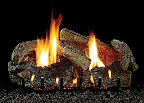 "Empire Comfort Systems 24"" Stacked Aged Oak Logset with Intermittent Pilot VF Slope Glaze Burner, LP"