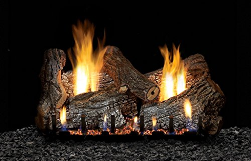 "White Mountain Sassafras Vent Free 24"" Gas logs with On/Off and Variable Flame Height Control Remote - Natural Gas"