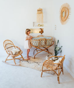 Rocking-chair enfant en rotin naturel JUNE