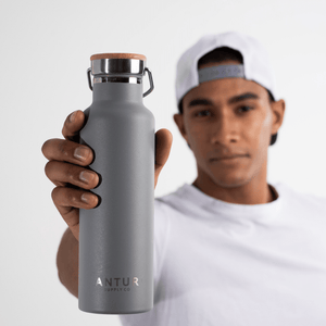 Antur Supply Co Grey Stainless Steel Bottle