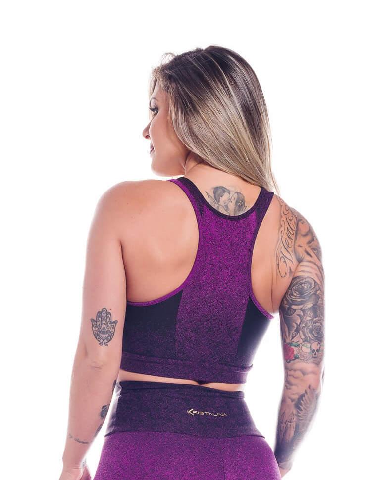 Sports Bra Jacquard Glitter Purple
