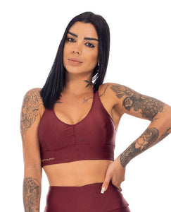 Sports Bra Rise Trilobal Metallic Marsala