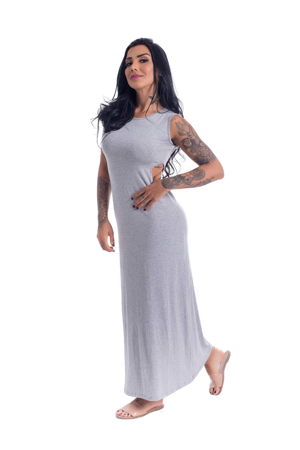 Cotton Long Dress Gray