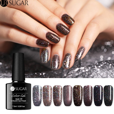 UR SUGAR 7.5ml  Glitter UV Gel Polish Dark Brown Sequins Gel varnish Soak Off UV Gel Varnish Nail Art Gel varnish LED