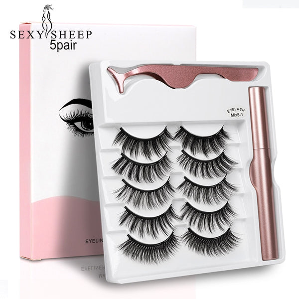 2020 NEW 5 Pairs Magnetic Eyelashes & Magnetic Eyeliner Set Updated 5 Magnet False Eyelashes Natural Makeup Eyelash Extension