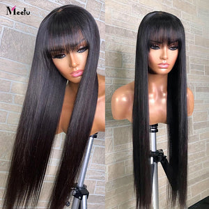 Meetu Straight Human Hair Wigs With Bangs 30 32inch Fringe Wig Colored Human Hair Wigs Ginger Burgundy Cheap Brazilian Remy Wig