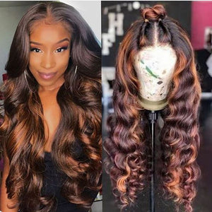 Colored U Part Wig 13x4 Lace Front Human Hair Wigs For Black Women Pre Plucked Heighlight Brown Deep Wave 180% Closure Wig