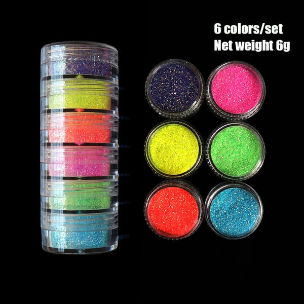 Neon Pigment Powder Fluorescent Nail Glitter Set Shinny Ombre Chrome Dust DIY Gel Polish Manicure For Nails Art Decoration