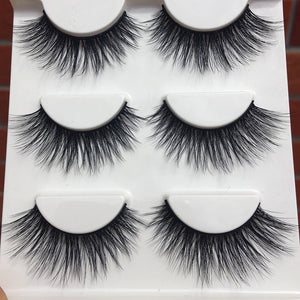 D-15 Winged Soft Cotton 3D False Eyelashes Stitch Cross Messy Natural Long Eye Lashes