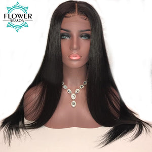 FlowerSeason 13*6 Natural Hairline Silky Straight Lace Front Human Hair Wig