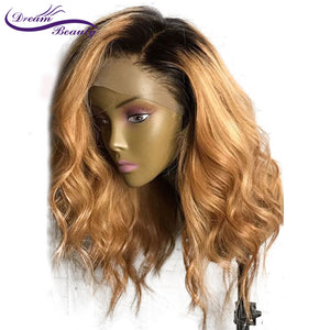 130 Density Ombre Lace Front  With Baby Hair Pre Plucked Body Wave Brazilian Remy Hair