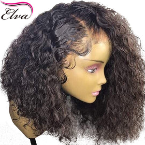 Curly 360 Lace Frontal Wig Pre Plucked With Baby Hair 180% Density Short Human Hair Bob Wig