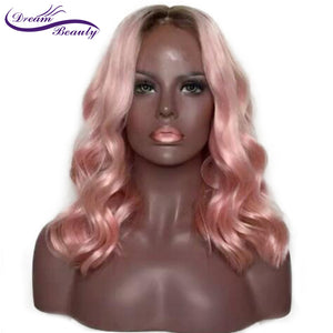 Pink Ombre Color Lace Front Human Hair Wigs 130% Density Brazilian Remy