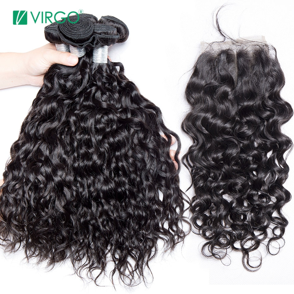 Malaysian Water Wave 3 Bundles with Closure Human Hair Bundles with Closure Remy Hair Weave 4 Pcs /lot Virgo Hair