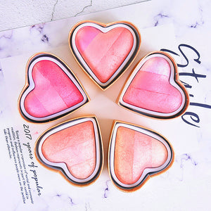 Face makeup baked blusher palette waterproof long lasting pink peach rainbow highlighter powder