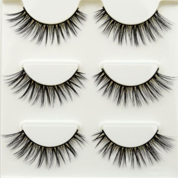 3 pairs 3D False Eyelashes Crisscross Thick Natural Professional Makeup Long Eye Lashes 11 styles