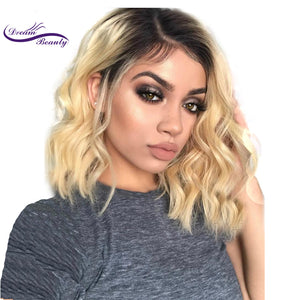 Dream Beauty Short Wavy Brazilian remy Human Hair Lace Front Wig Ombre blond Pre Plucked Baby Hair