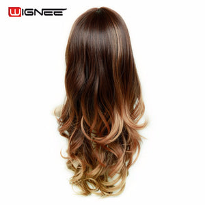 Wignee Synthetic Wigs With Bangs For Women Long Hair High Density Temperature 3 Tone Ombre Brown