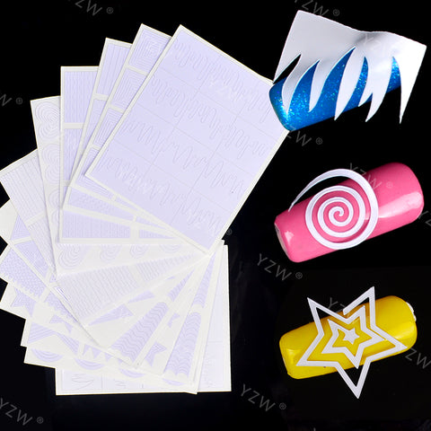 YWK 12 Sheets Nail Stickers Geometry Stripe French Nail Vinyls Circle