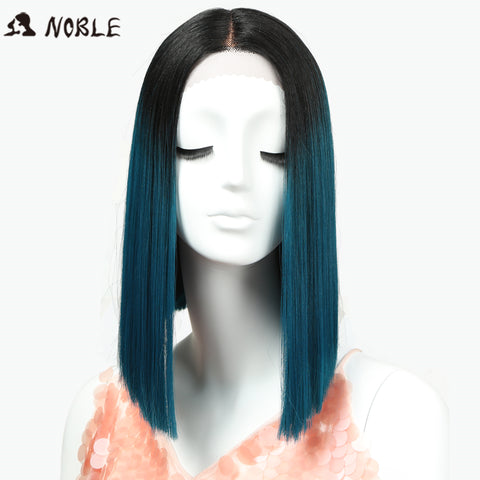 Noble Straight Synthetic Hair Lace Front And T Part 14 Inch Blue Ombre Wig