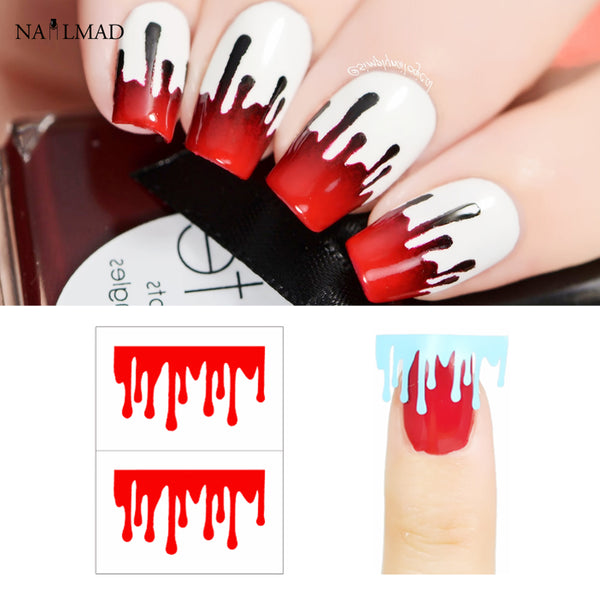 1 sheet Paint Drop Nail Starburst Hollow Nail Art Sticker Fire Nail Stencil