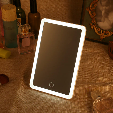 Rechargeable LED Cosmetic Mirror Square Dimming Folding Touch Screen Table Cosmetic Lamp Home Decor Makeup Mirror Light