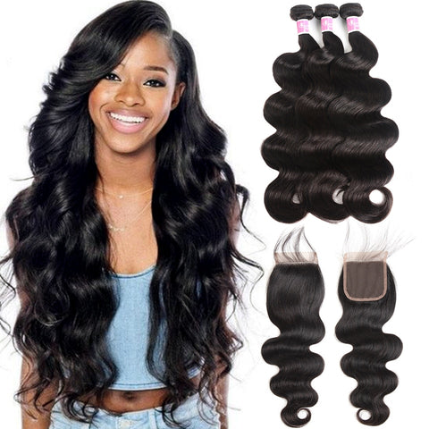 Peruvian Body Wave Bundles With Closure Peruvian Hair Bundles With Closure Human Hair 3 Bundles With Closure Queen Mary Non Remy
