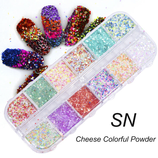 Full Beauty 12 Grids/Sets Nail Glitter Sequin Mixed