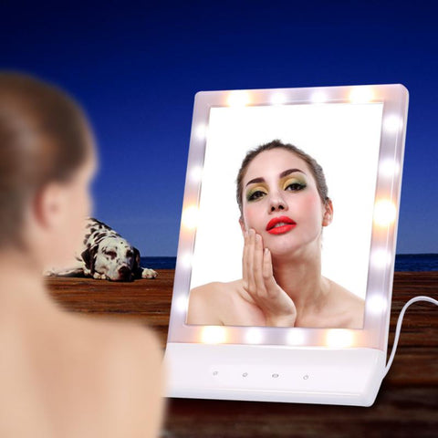 LED Light Makeup Mirror Cosmetic Lighted Vanity 90 Degree Rotating Tabletop Touch Screen Mirror Glass with USB Cable