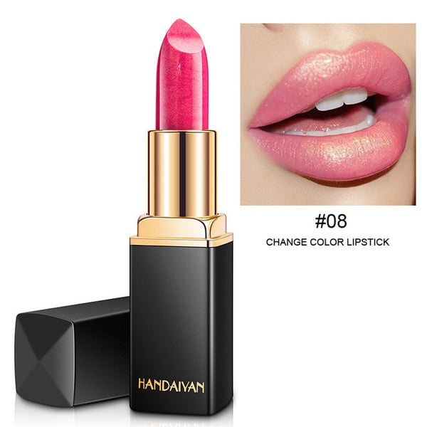 HANDAIYAN Brand Professional Lips Makeup Waterproof Long Lasting Pigment Nude Pink Mermaid Shimmer Lipstick Luxury Makeup