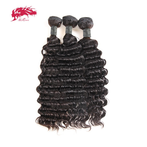 Ali Queen Hair Products 3Pcs Deep Wave Peruvian Hair Weave Bundles Remy Hair Weaving Human Hair Extension Natural Color #1B